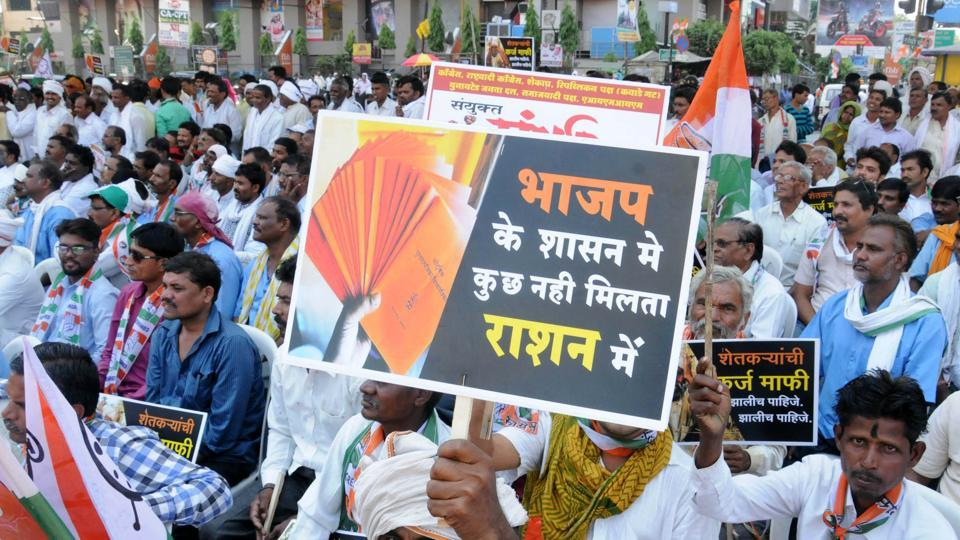 Opposition parties and farmers shout slogans during