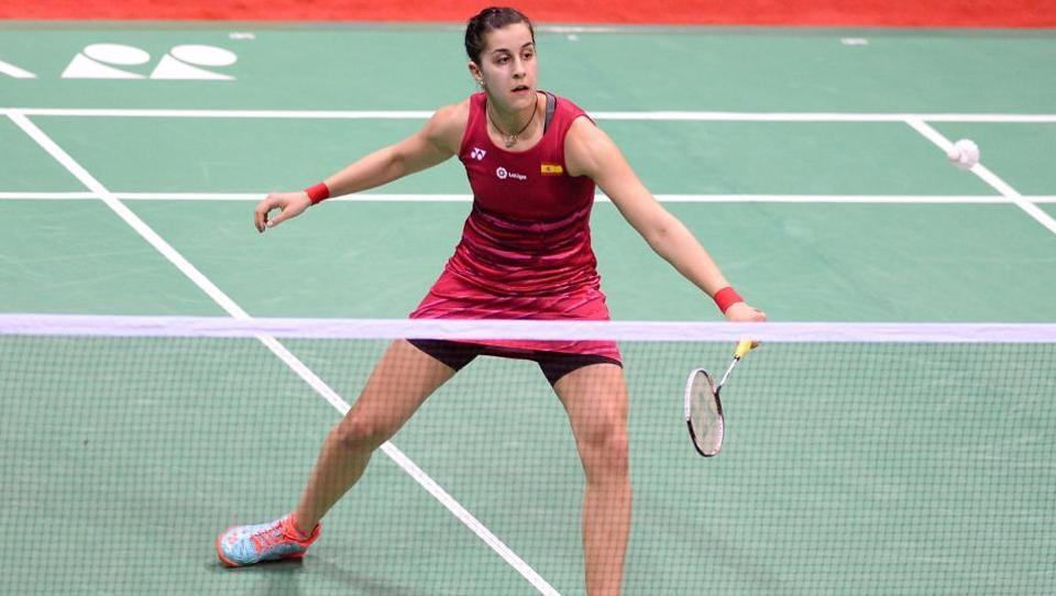 Spain's Carolina Marin plays a return in the India Open final against PV Sindhu. (AFP)
