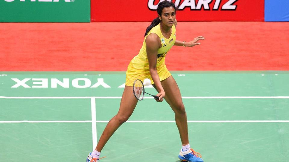 India's PV Sindhu plays a return against Spain's Carolina Marin. (AFP)
