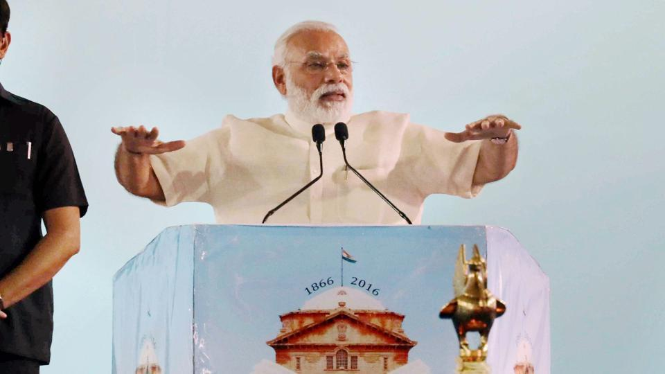 Prime Minister Narendra Modi addresses the Sesquicentennial Celebrations of the Allahabad high court on Sunday.