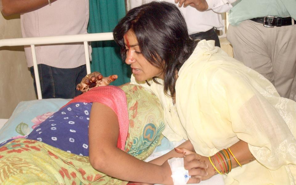 Manan Chaturvedi ,chairperson of state commission for protection of child rights  meets the victim at the hospital on Sunday.