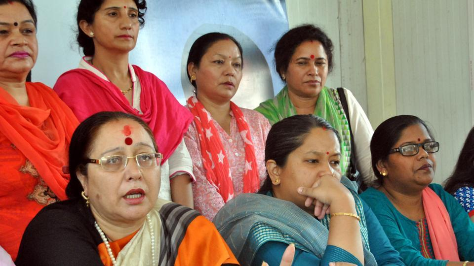 MLA and Mahila Congress state unit chief Sarita Arya (left) addresses a press conference in Dehradun on Tuesday.