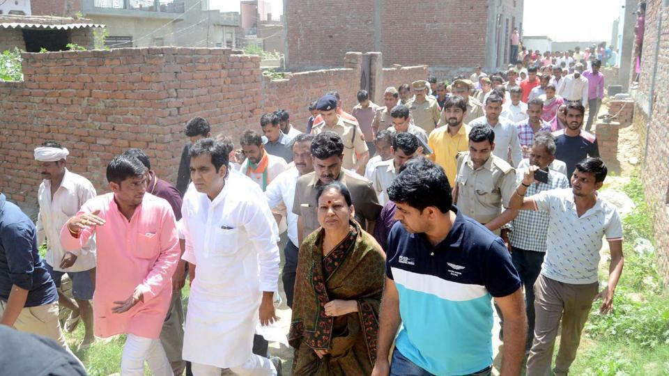 The Noida MLA visited the victim's residence on Sunday.