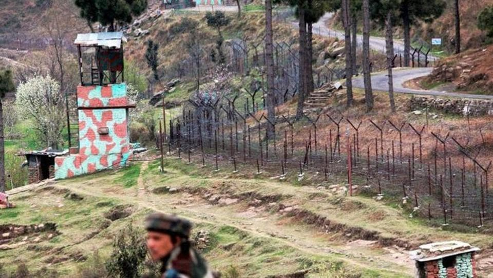 A view of an Indian border post near the fencing along the Line of Control (LoC) in Balakot Sector in Poonch. An IED blast in the Degwar sector in Poonch killed one officer on April 1, 2017.