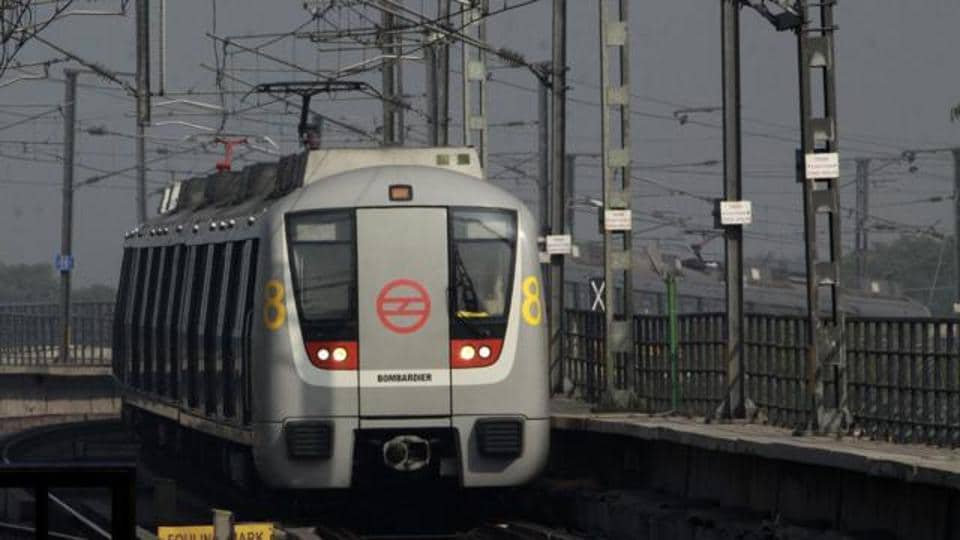 A metro train in Delhi operated by the DMRC.