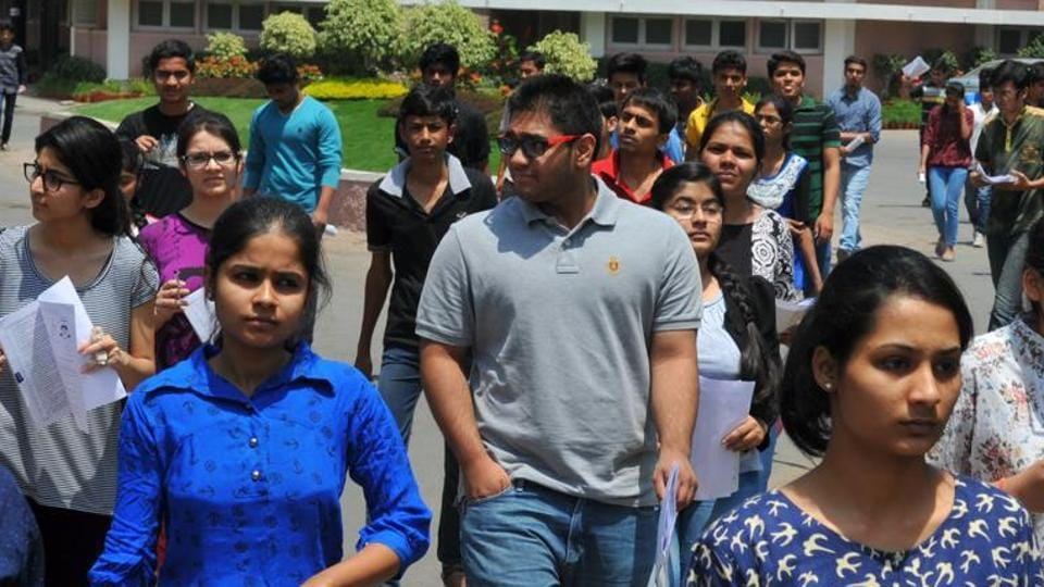 Students coming out of an examination centre after appearing in the JEE Mains exam in INDORE, India, on Sunday, April 3, 2016. (
