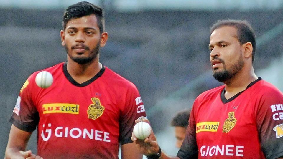 Kolkata Knight Riders players Yusuf Pathan and Ankit Rajpoot (L) during a practice session.