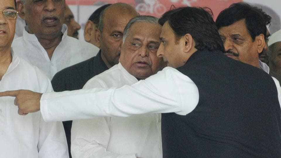 Former UP chief minister Akhilesh Yadav with his father and SP chief Mulayam Singh Yadav before the state assembly election in November 2016.