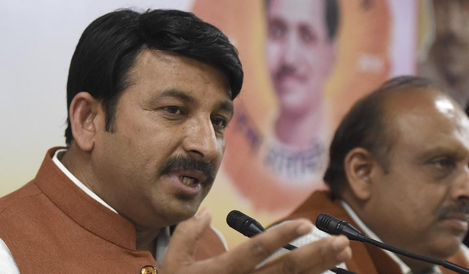 New Delhi, India- March 14, 2017: Bharatiya Janata Party's Delhi chief Manoj Tiwari, Leader of Opposition in Delhi Assembly Vijender Gupta address a Press conference on the issue of MCD election in Delhi, in New Delhi, India on Tuesday, March 14, 2017. ( Photo by Sonu Mehta/ Hindustan Times)