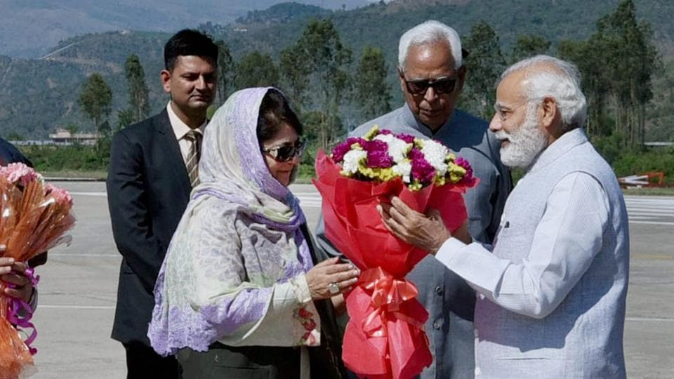 Prime Minister Narendra Modi being received by Jammu and Kashmir Governor NN Vohra and CM Mehbooba Mufti on Sunday.