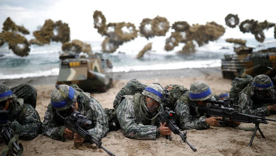 South Korean marines take part in a U.S.-South Korea joint landing operation drill as a part of the two countries' annual military training called Foal Eagle, in Pohang, South Korea on April 2, 2017.  (Kim Hong-Ji/REUTERS)