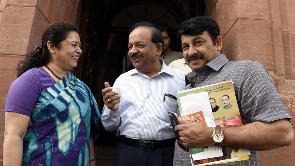 Union minister Harsh Vardhan with Lok Sabha members Meenakshi Lekhi and Manoj Tiwari in Parliament.
