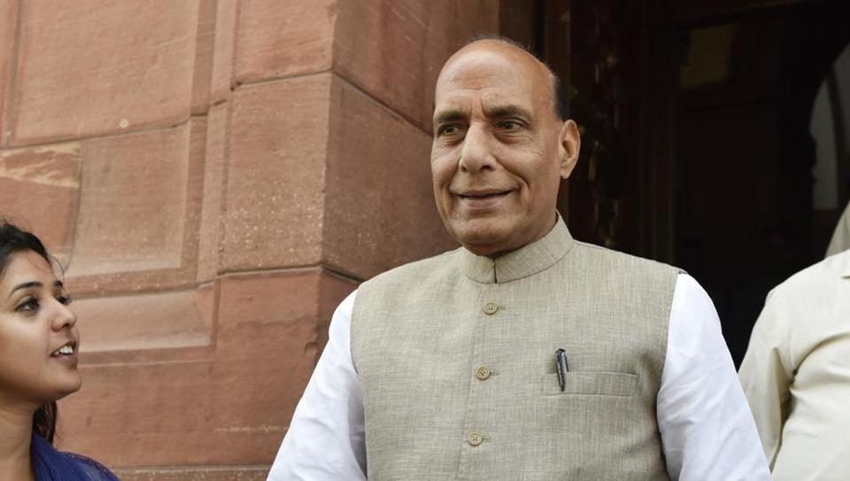 Home minister Rajnath Singh at Parliament during the Budget Session in New Delhi.