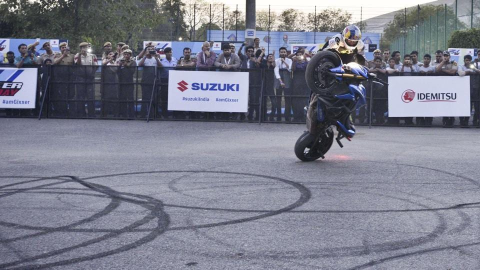Suzuki Gixxer Day is a gathering of Suzuki Gixxer and Gixxer SF owners to celebrate the spirit of the hugely successful Street Sport Bike.  (Arun Sharma/HT PHOTO)