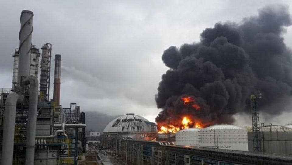 The explosion was heard at the storage facility of a specialty oil plant owned by Wanhua oil company in Anqing city in the early hours onSunday.