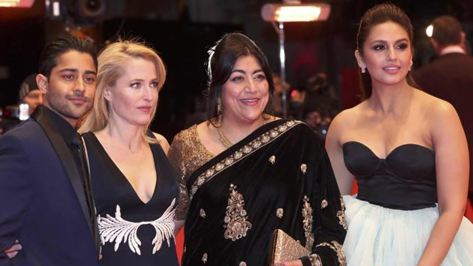 Actor Manish Dayal (left to right), actress Gillian Anderson, director and screenwriter Gurinder Chadha and actress Huma Qureshi arrive for the screening of Viceroy' s House at the 67th Berlinale International Film Festival in Berlin, Germany, on February 12, 2017.