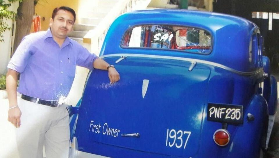 Sunir Monga with his 1937 model Chevrolet car in Ferozepur on Sunday.