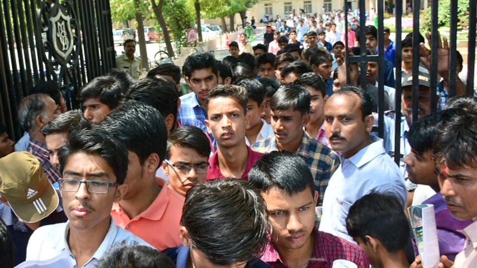 Aspirants coming out after taking JEE Mains 2017 examination from a centre in Jaipur on Sunday.