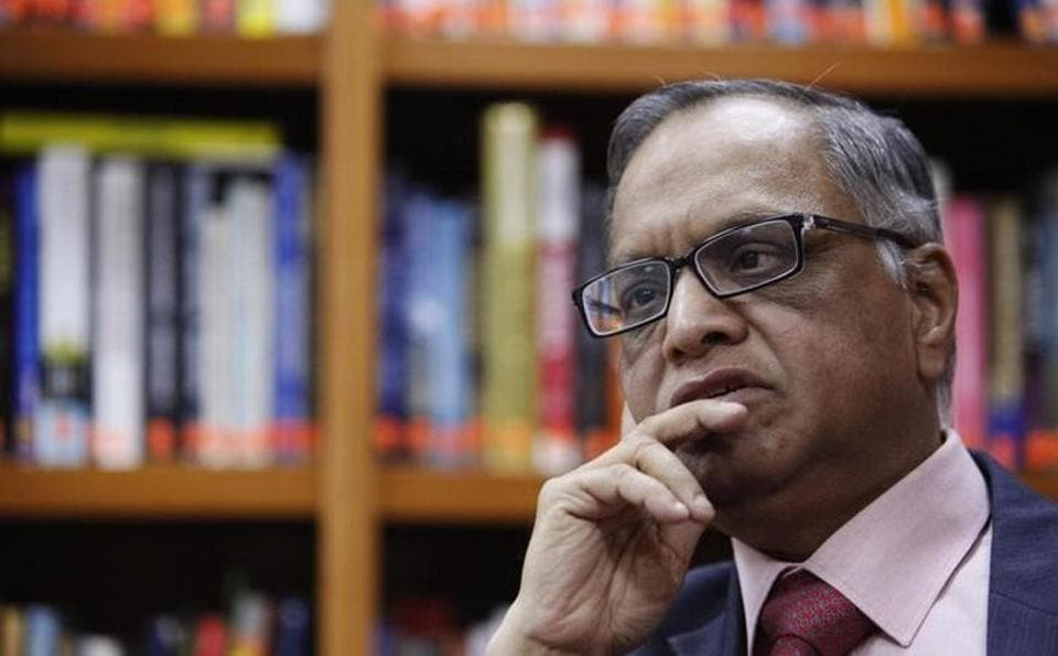 N. R. Narayana Murthy listens to a question during an interview with Reuters at the company's office in Bangalore February 28, 2012.