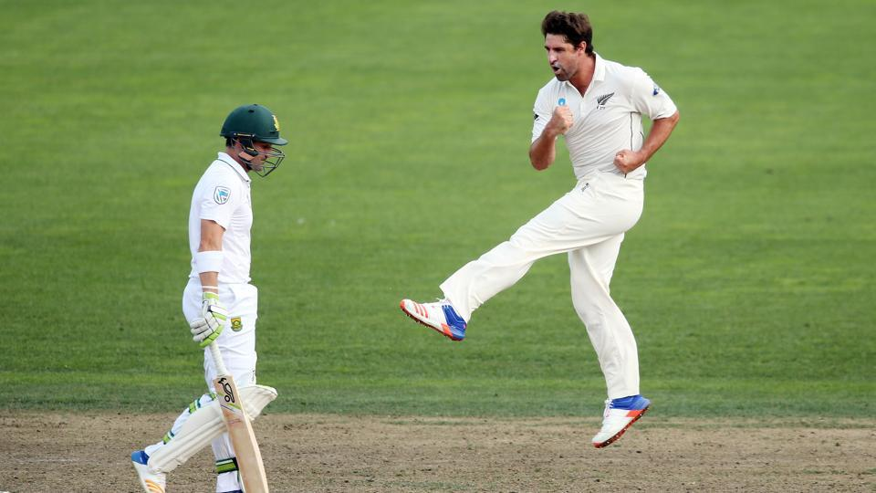 Colin de Grandhomme (right) of New Zealand celebrates the wicket of Dean Elgar of South Africa during day four of the third Test between New Zealand and South Africa at Seddon Park in Hamilton on March 28, 2017. Grandhomme has been roped in by Kolkata Knight Riders for Indian Premier League