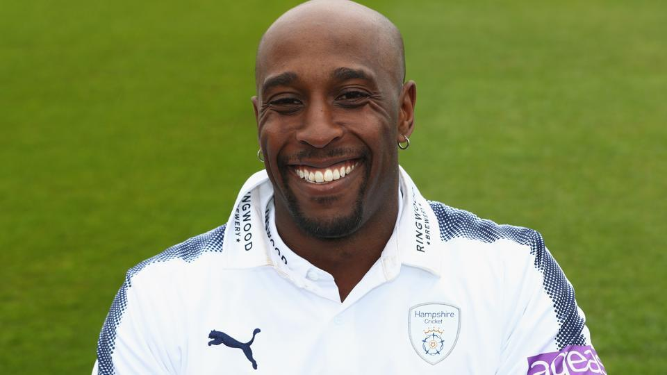 Michael Carberry of Hampshire poses in the Specsavers County Championship kit during the Hampshire County Cricket photocall at the Ageas Bowl on March 29, 2017 in Southampton, England.