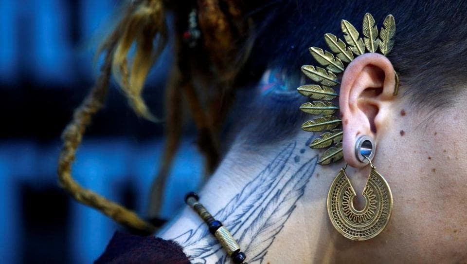 An earring of a tattoo artist is pictured during the  Tattoo Convention in Kathmandu. (Navesh Chitrakar / Reuters)