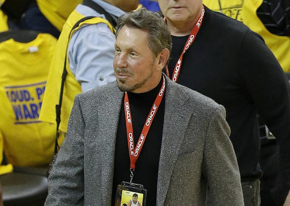 Oracle CEO Larry Ellison arrives at an opening-round NBA basketball playoff series. Ellison has recently focused more on cloud computing, in which data is stored and managed across a network of computers. His fortune comes from the 27% stake he still owns in Oracle, currently worth $183.27 billion.