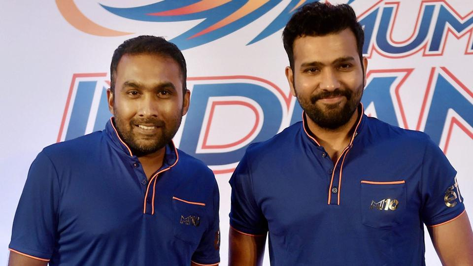 Mumbai Indians' new coach Mahela Jayawardene, and captain Rohit Sharma before a press interaction in Mumbai on Sunday where they spoke about the upcoming Indian Premier League (IPL) and how the team is sharping up for it. (PTI)