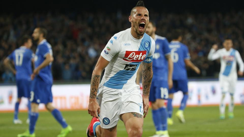 Napoli's Marek Hamsik celebrates scoring their equaliser against Juventus in Sunday's Serie A clash.