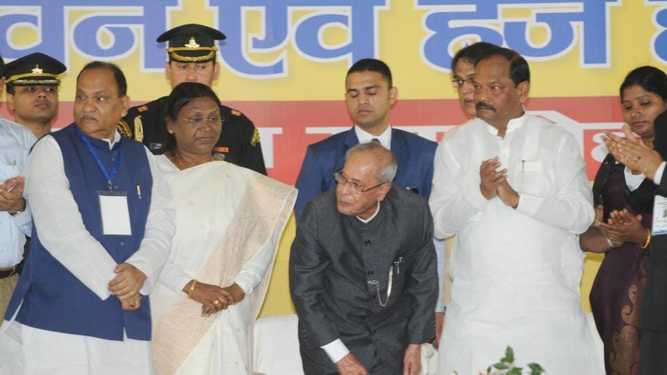 President Pranab Mukherjee laying the foundation stone of Rabindra Bhawan and Haj house in the presence of Governor Draupadi Murmu and Chief Minister Raghubar Das at Court road in Ranchi on Sunday.