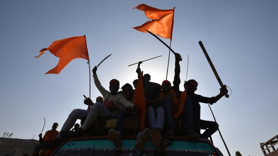 Many youth showed swords, knife and flags as they participated in the rally. (Raj K Raj/HT PHOTO)