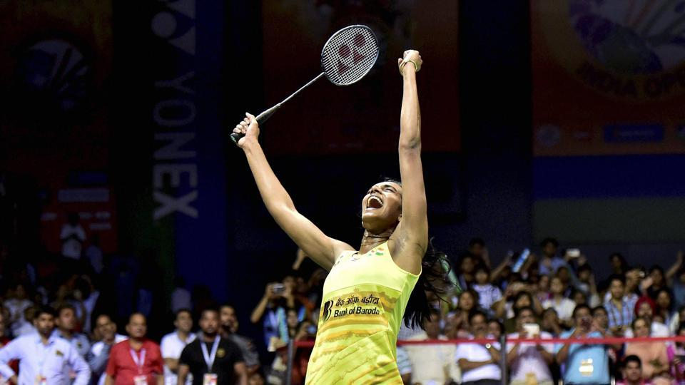 India's PV Sindhu lets out a triumphant cry after winning the women's singles final of the Yonex-Sunrise India Open 2017 tournament, in New Delhi on Sunday.