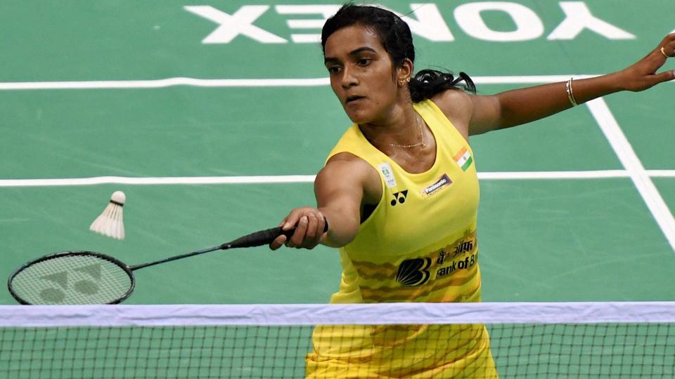 PV Sindhu plays a shot during her quarterfinal match against Saina Nehwal at the India Open Super Series badminton tournament at the Siri Fort Sports Complex in New Delhi on March 31.