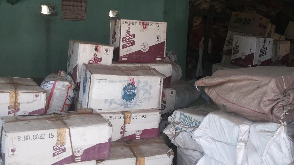 Cartons of liquor stashed in the record room at Barachatti police station of Bihar's Gaya district.