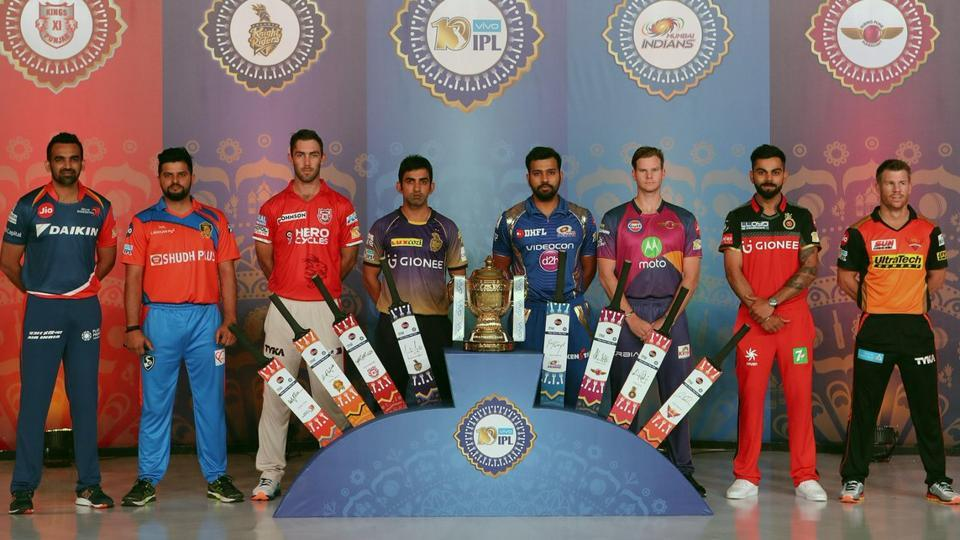 The eight captains pose with the Indian Premier League (IPL) trophy. (twitter)