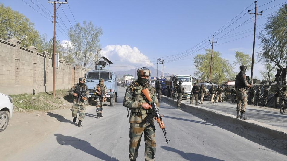 Army personnel near the site of a militant attack in Sempora area on the outskirts of Srinagar on Monday.