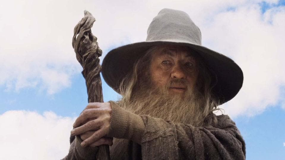 Ian McKellen as Gandalf in the Lord of the Rings movies.