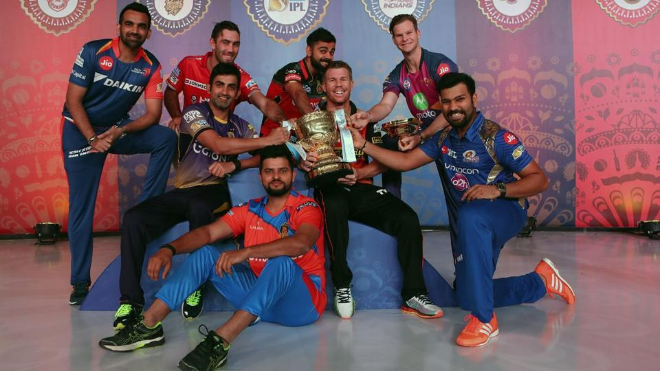 The eight team captains pose with the trophy ahead of the 2017 Indian Premier League (IPL). (Twitter)