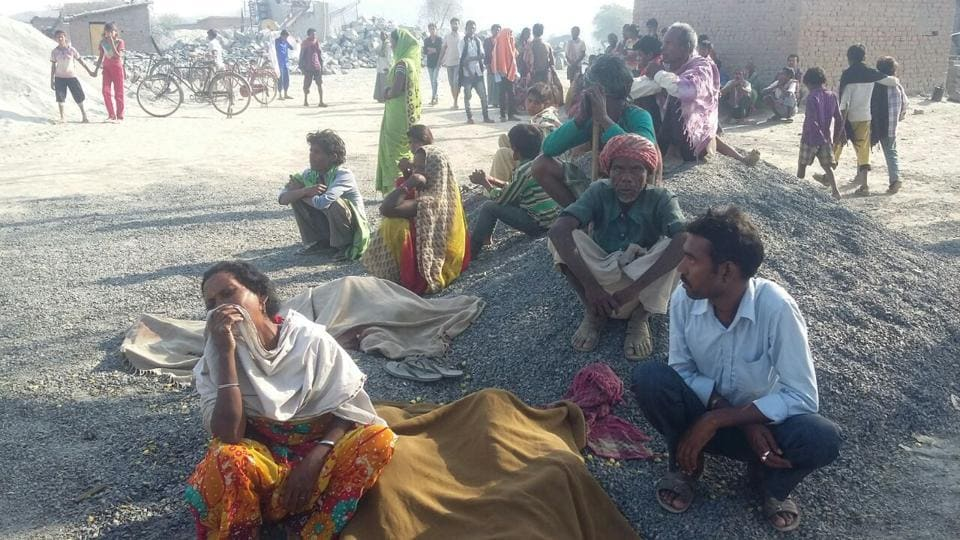 Gireving family members of the four children who were mowed down by a truck in a village in Palamu district Monday night.