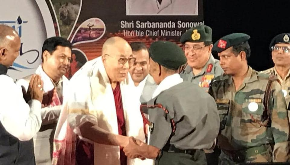 Dalai Lama meeting an Ex Serviceman who along with other solider's of Assam Rifles escorted His Holiness into India in 1959.
