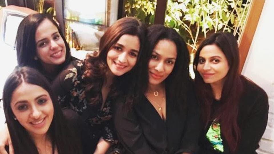 Alia with her friends and sister.
