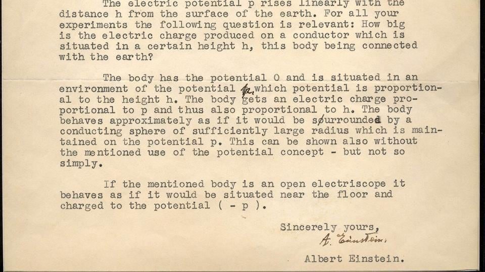 Einstein penned the letter in reply to a two-page questionnaire submitted by Arthur Converse, a science teacher from Iowa, concerning electrostatic theory and special relativity.