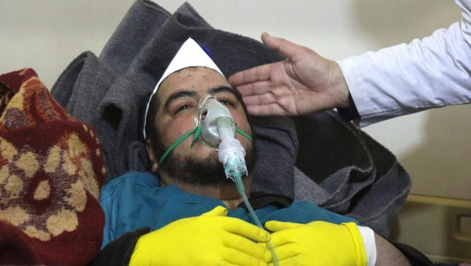 A Syrian man receives treatment at a small hospital in the town of Maaret al-Noman following a suspected toxic gas attack in Khan Sheikhun, a nearby rebel-held town in Syria's northwestern Idlib province, on April 4, 2017.