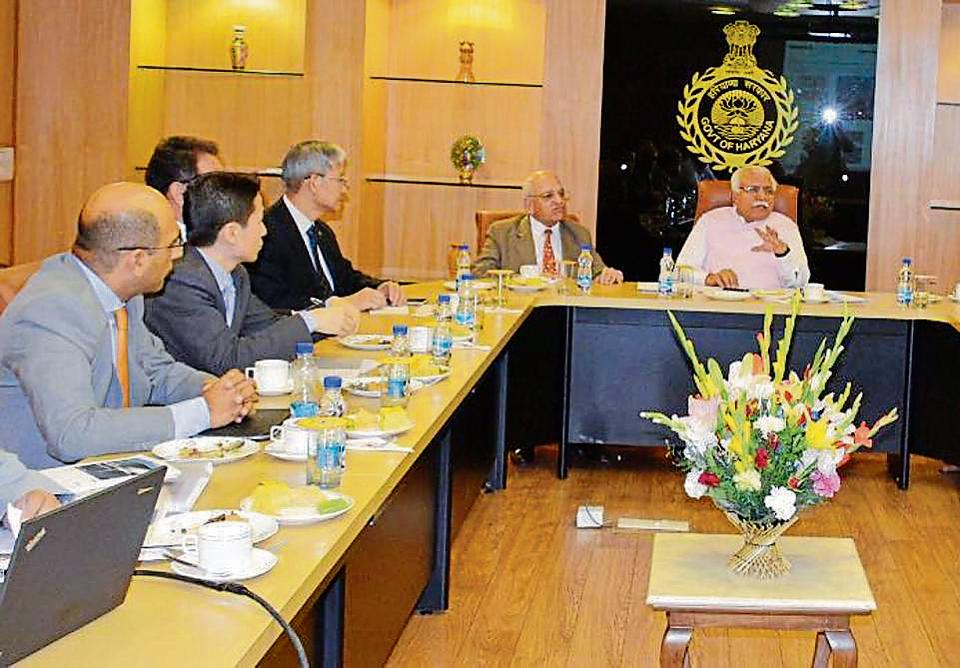 The officials at the meeting in New Delhi onApril 4. The two routes proposed by Mitsubishi are from Iffco Chowk to Gurgaon railway station and Iffco Chowk to Sector 21 Dwarka in Delhi.