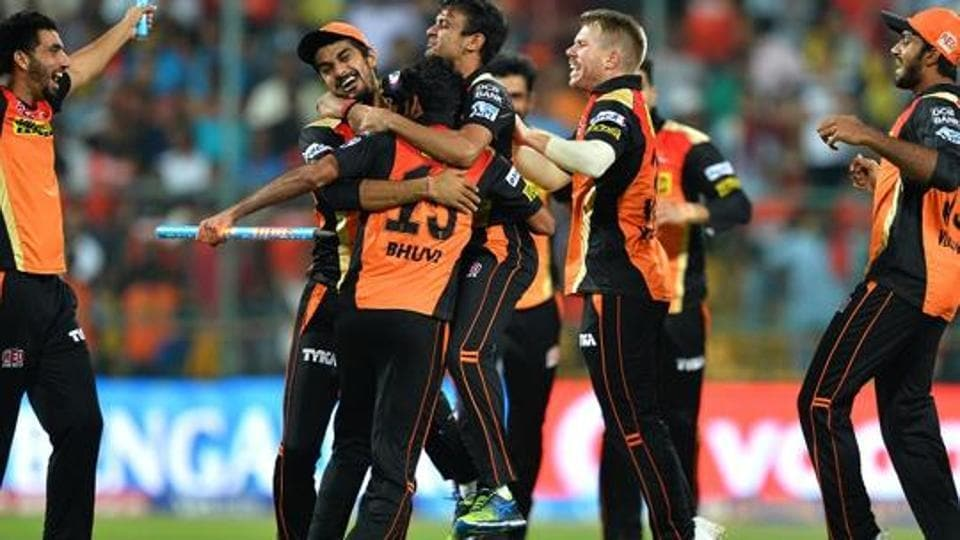 Sunrisers Hyderabad, led by skipper David Warner (2nd from right), celebrate their victory over Royal Challengers Bangalore in the final of IPL 2016. Illegal bookies are finding new ways to 'cash in' on the league.
