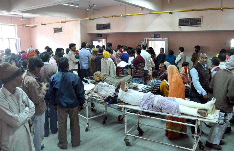 Crowd of patients await their turn at a government hospital.