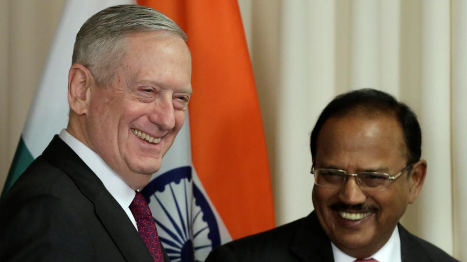 US Defense Secretary James Mattis (L) welcomes India's National Security Advisor Doval before their meeting at the Pentagon in Washington on March 24.