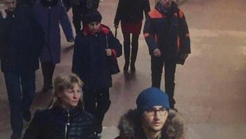 A still image of suspect Akbarzhon Jalilov walking at St Petersburg's metro station is shown in this police handout photo obtained by 5th Channel Russia.