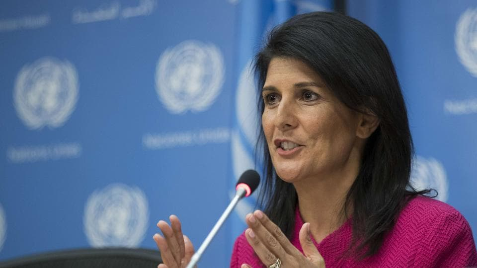 US Ambassador to the United Nation Nikki Haley answers questions during a press briefing at the United Nations headquarters, on April 3 in New York City.