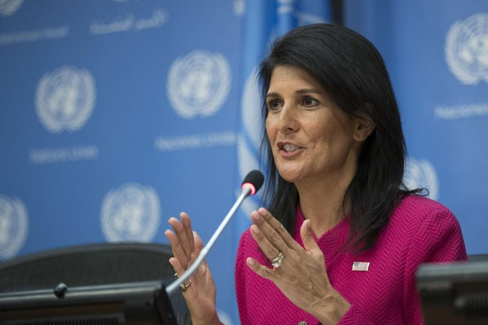 US ambassador to the UNNikki Haley during a press briefing at the United Nations headquarters in New York City.